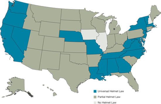 Map of States with none, partial, and universal helmet laws.